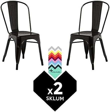 SKLUM Silla TOLIX (Pack 2) - Silla Industrial Metálica Negro - (Elige Color): Amazon.es: Hogar