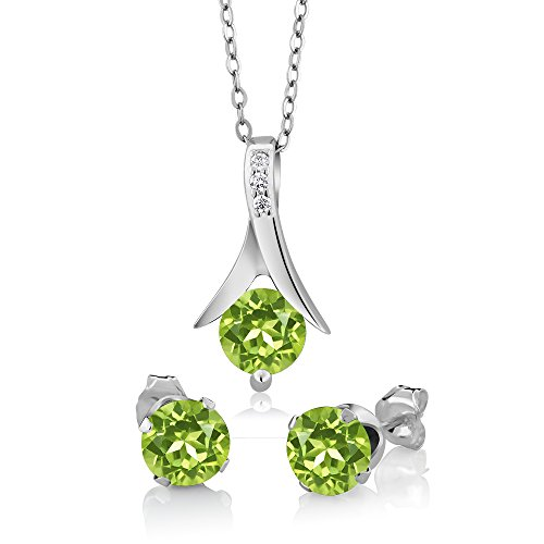 Gem Stone King 925 Sterling Silver Green Peridot Pendant and Earrings Set 3.00 Ct Round Gemstone Birthstone with 18