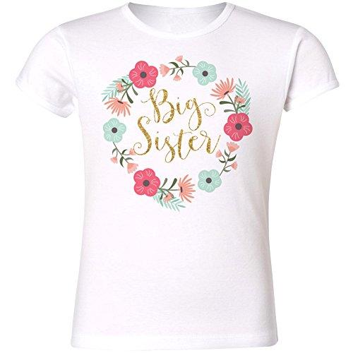 Big Sister Floral Ring Girls Cut T-shirt (6 tshirt, Gold (Glitter Floral Tee)