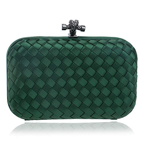 Elegant Ladies Evening Clutch Bag With Chain Cross Knit Weave Shoulder Bag Women'S Handbags Purse Wallets For Wedding,Green
