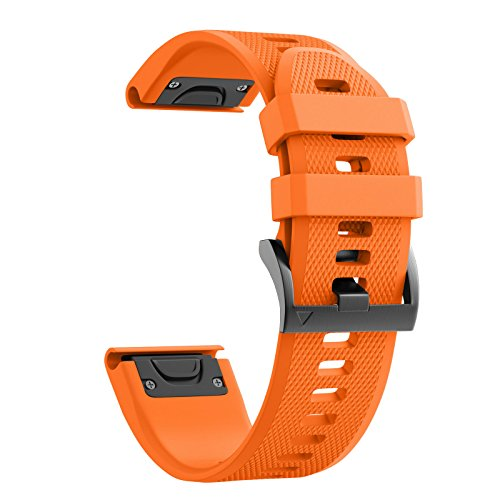 ANCOOL Compatible with Fenix 5 Band Easy Fit 22mm Width Soft Silicone Watch Strap Replacement for Fenix 5/Fenix 5 Plus/Forerunner 935/Approach S60/Quatix 5 - Orange