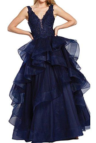 Spitze Ivydressing Promkleider Organza Damen V Partykleider Abendkleider Festkleider Ausschnitt Tintenblau qInwpIrx6