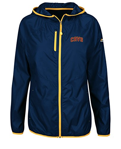 VF LSG NBA Cleveland Cavaliers Women's Fateful Encounter Scuba Hoodie with Full Zip, Medium, Athletic Navy/Yellow Gold