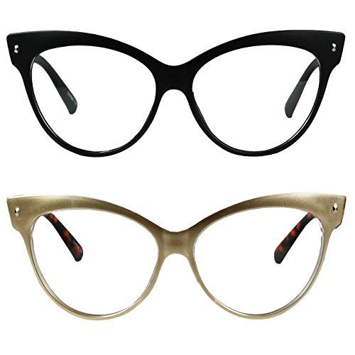 ShadyVEU - Vintage Cat Eye Oversize Clear Lens Fashion MOD Sunglasses