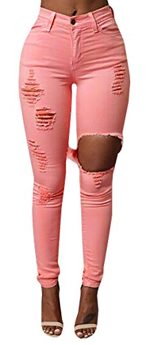Jiujiuyi Women's Candy Color Ripped Skinny Jeans