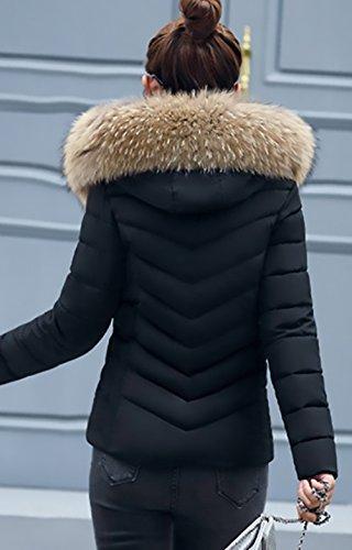 Lannister Tallas Jacket Cuello Grandes Abrigados Coat Outcoat Abrigos Elegantes Fashion Cremallera Slim Invierno Plumas Casual De Piel Sólido Chaquetas Fiesta Ropa Mujer Negro Parka Color Fit nSISrq