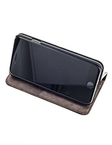 """QIOTTI Apple iPhone 7 PLUS (5.5"""") Etui incl. VERRE ANTIBALLES H9 HD+ Prime en Cuir pleine fleur de qualité supérieure , Coque Housse Portefeuille foncé - BRUN CAFÉ"""