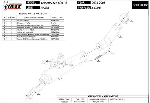 EXHAUST MIVV YAMAHA YZF 600 R6 XCONE X CONE 2003 2004 2005