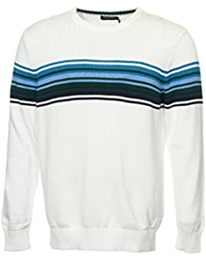 Men's White Heather Crew Neck Sweater