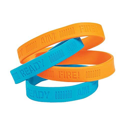 Fun Express - Dart Battle Party Rubber Bracelets for Birthday - Jewelry - Bracelets - Rubber Bracelets - Birthday - 24 Pieces