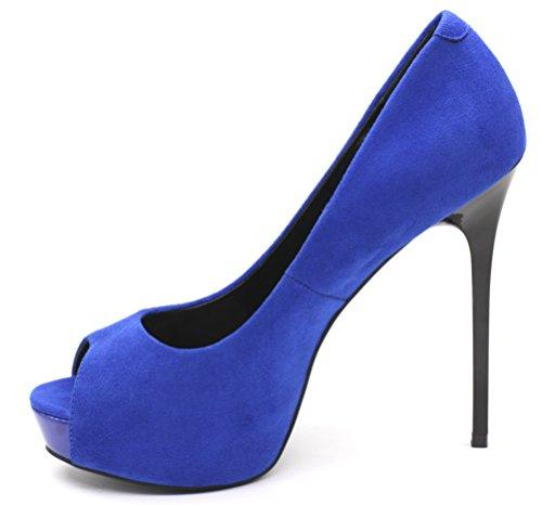 Jaro Vega Vrouwen Open Teen Platform Stiletto Pumps Blauw-fab