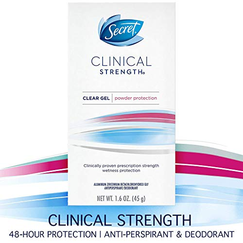 Secret Antiperspirant Deodorant for Women, Clinical Strength Clear Gel, Powder Protection, 1.6 Oz