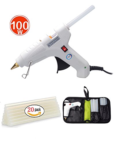 Efaithtek 100 Watt Hot glue Gun with 20PCS Melt Glue Sticks and carry bag for Arts & DIY Crafts, & Sealing and Quick Repairs in Home & Office (White) by Efaithtek