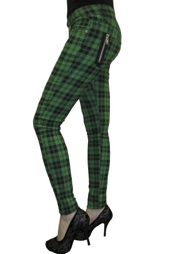 Apparel Check Verde Skinny Jeans Pantalones Banned Vaqueros 6Sq4wS