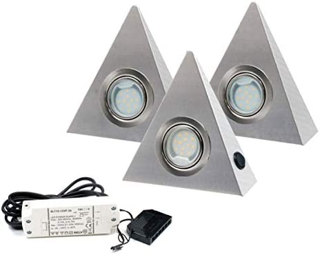 Hochwertiges 3er Set LED Dreieckleuchte- Küchenleuchte -2,5W WARMWEISS mit Zentralschalter