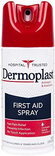 Dermoplast First Aid Pain Relief Spray with Antiseptic to Help Prevent Infection in Minor Cuts, Scrapes & Burns, 2.75 Ounce Can - 20% Benzocaine & 0.2% Benzethonium Chloride (Packaging May Vary)