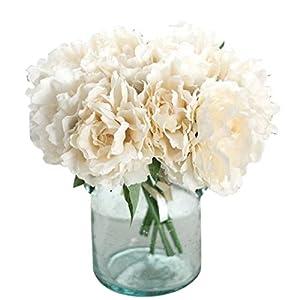 Celine lin Artificial Silk Fake 5 Heads Flower Bunch Bouquet Home Hotel Wedding Party Garden Floral Decor Peony,White 11