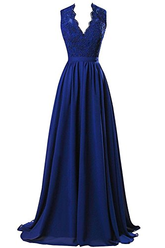 MARSEN Women's Modest V Neck Open Back Chiffon Long Evening Gown with Lace Royal Blue Size 2