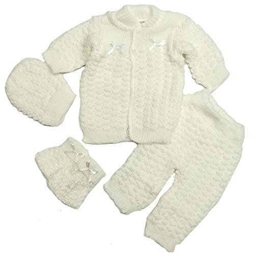 Abelito Baby's Four Piece Crochet Outfit Set One Size White
