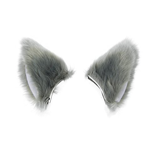 BAOBAO Cat Fox Long Fur Ears Hair Clip Headwear Cosplay Halloween Costume(Gray&White)