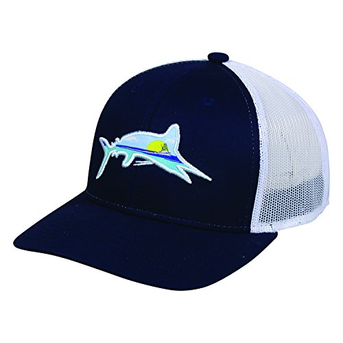 Marlin Fish Charter Fishing Lake Scene Navy Blue and White Cap Hat 223,Navy / White,One Size Fits Most (Double White Mesh Cap)