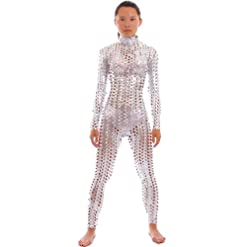 Seeksmile Unisex Hollow Carved Shiny Lycra Dancewear Catsuit Bodysuit