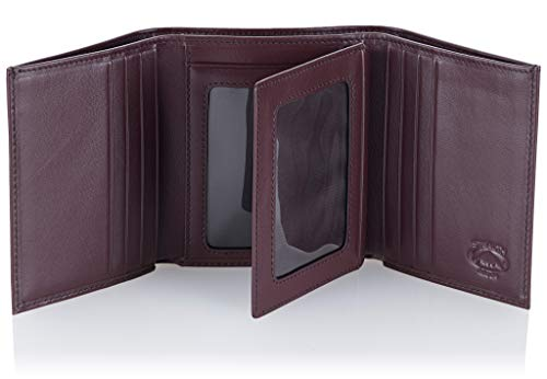 Stealth Mode Leather Trifold RFID Wallet For Men With Flip Out ID -