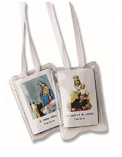 Our Lady of Mt. Carmel & St. Simon Stock Pray For Us Laminated Holy Scapular in Gift Bag (White Cord)
