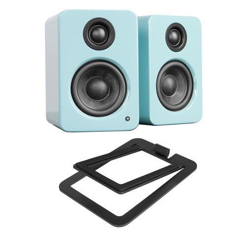 Kanto YU2 2 x 25W RMS Powered Desktop Speakers, Pair, Gloss Teal - With S2 Desktop Speaker Stands Pair Black