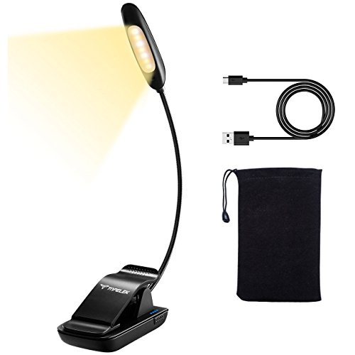 TopElek Reading Light 7 LED Book 9-Level (Warm/Cool White), USB Rechargeable, Eye Care Brightness Lamp with Travel Bag Perfect for Bookworms, Kids