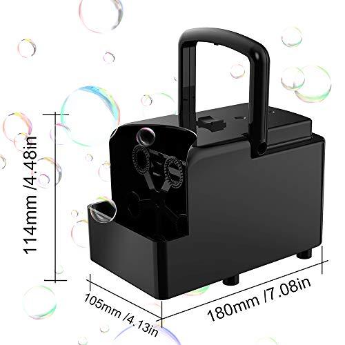 Maquina de Burbujas automática, Máquinas de Burbujas de Jabón portátil para Uso en exteriores y interiores, alimentado por Batería o USB, Soplador de Burbujas para Fiesta Boda Cumpleaños