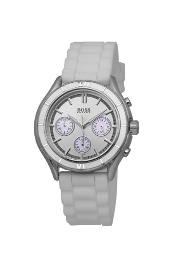 Hugo Boss Chronograph Silver Dial White Silicone Unisex Watch 1502223