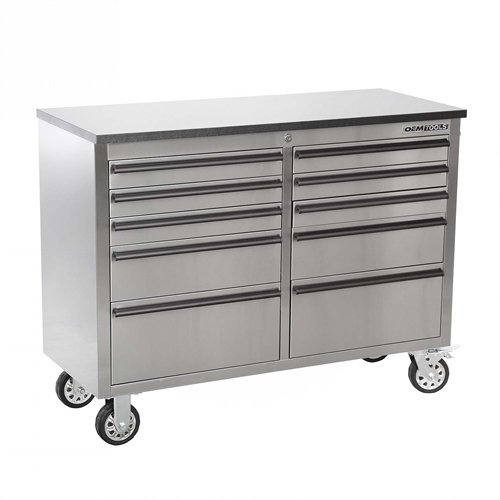 (OEMTOOLS 24614 Drawer Cabinet (46 Inch 10 - Stainless Steel))