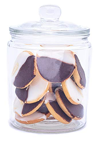 Airtight Glass Cookie and Candy Jar with Lid - Round Flour and Sugar Canister - Half Gallon Food Storage Jar with Chalkboard Sticker Included - Set of 1