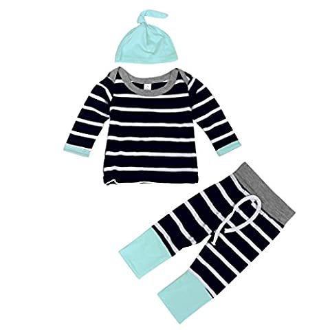 Malada Baby Boys Outfit Clothes Stripe Long Sleeve T-Shirt Tops+Long Pants+Hat (6M, Navy) - Blue Flowers Creamer