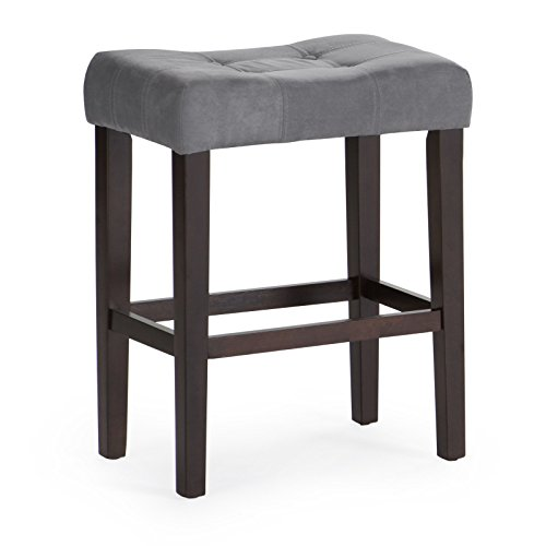 Home Direct Gray Grey Contemporary Classic Set of 2 Microfiber Upholstered Counter Stool 26