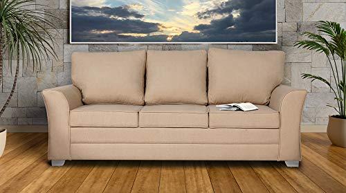 Adorn India Alexia Three Seater Sofa (Beige)