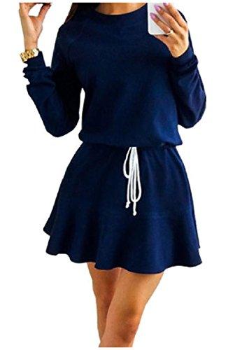 De Confortables Femmes Acceptent La Taille Manches Longues, Plus La Taille Mini-as1 Robe Chic Et Solide