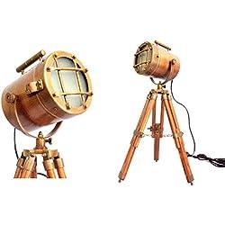 Vintage Decorative Marine Table Lamp Nautical Royal Wooden Tripod Desk Decor Maritime Replica 2017 (Brown-Copper)