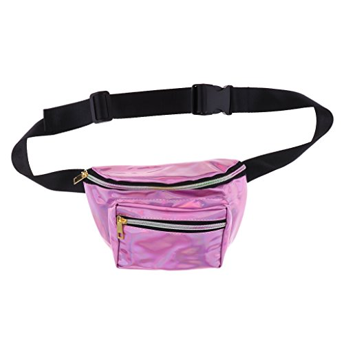 Shiny Bum Bag Pack Adjustable Homyl Fashion Casual Pink described Men Fanny Pack Waist as Women Silver WYYqgPvp