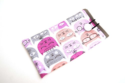 Fabric Eyeglasses Case or Sunglasses Cover in Pink and Grey Cats