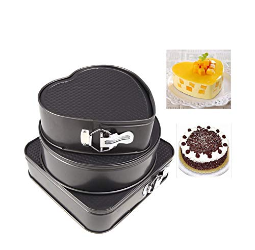 1 set - 3pcs Nonstick Springform Pan Heat Leakproof Cake Pan Pie Mold With Removable Smooth Bottom And Quick-Release Latch Baking Tin