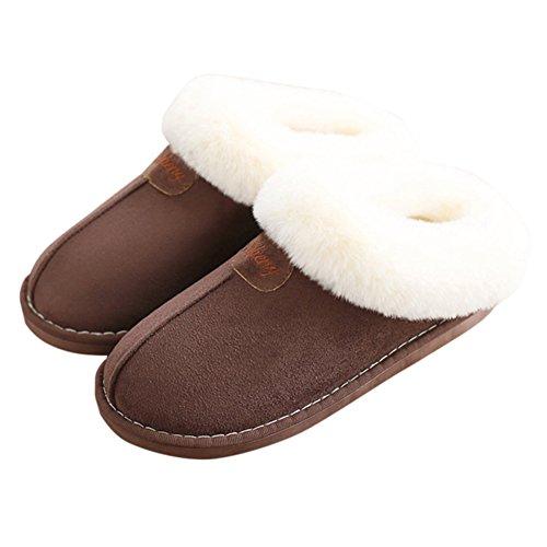 Agowoo Gezellig Fuzzy Traagschuim Lounge Indoor Huis Pantoffels Voor Mannen Bruin