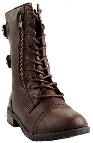 Per Sempre Mango-61 Stivali Stile Militare Allacciatura Alla Caviglia In Finta Pelle Con Cerniera Marrone