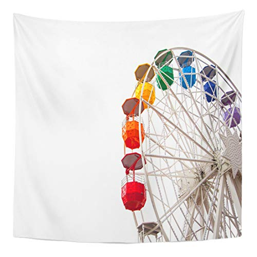 (Semtomn Tapestry Wall Hanging Home Art Blue Fair Ferris Wheel on White Red Fun Ride 50