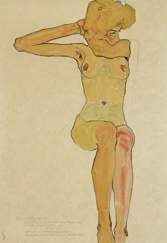 Seated Female Nude With Raised Right Arm, 1910 by Egon Schiele Art Print, 19 x 28 inches