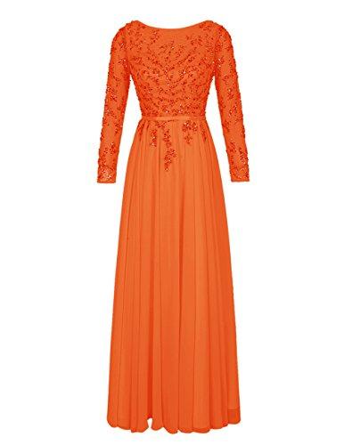 Bbonlinedress Vestido De Mujer Ceremonia Fiesta Con Mangas Largas Espalda Descubierta Naranja