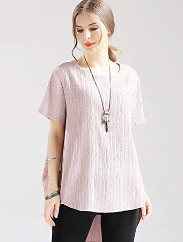 Tunic Rosa shirt colore Casual Top T Manica A Rosa Summer Da Corta Donna Qiusa Plain vTZqw