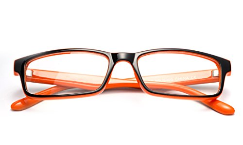 Newbee Fashion - Simple Sleek Squared Fashion Eye Glasses Clear Lens Frames for Women and Men Cosplay Accessories Black/Orange