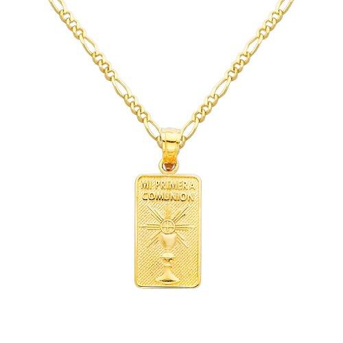Wellingsale 14K Yellow Gold Polished Religious CommunionHoly Communion Charm Pendant
